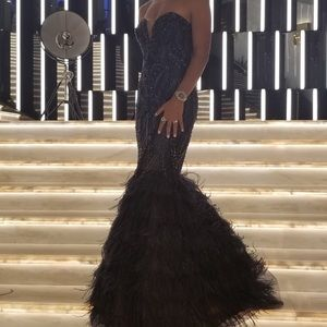 Jovani Feathered Bottom Prom Dress.
